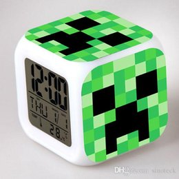 Cartoon Minecraft Alarm Clock LED Colorful Glowing 7 Colors Change Digital Alarm Clocks Thermometer Night Colorful Changing Toys DHL FREE