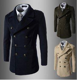 Wholesale 2014 New arrivals Men s DARK BLUE Double breasted badges coat jacket men s hoodies Men S cardigan sweater men business suits