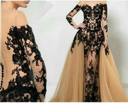 Wholesale 2016 Evening Dresses Zuhair Murad with overskirts Black Lace Appliques Long Sleeves Mermaid Count Train Evening Gowns Formal Gowns