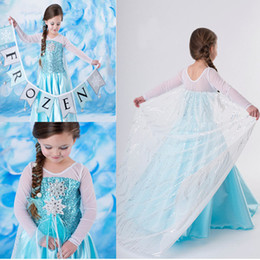 Wholesale Christmas Gift Frozen Princess Dresses Blue Elsa Dresses With White Lace Wape Girls New Fashion Frozen Dress
