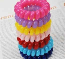 Wholesale 5cm Hair Accessories Headband Telephone Cord Elastic Hair Band Ponytail Holders Hair Ring Silicone Rubber Bands Gum for Hair