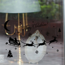 high merry christmas santa claus words wall sticker home decor shop store chirstmas milu deer party window stickers decoration
