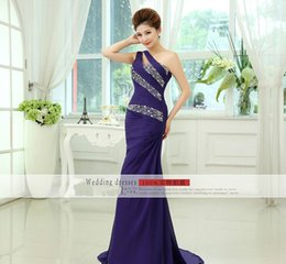 Wholesale In Stock Purple Evening Dresses Chiffon One Shoulder Sequins Beads Sheath Sleeveless Floor Length Prom Party Formal Ball Gown