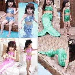 Wholesale 2015 Pink Girls Kids Costume Swimwear Mermaid Tail Swimmable Swimsuit Bikini Set Y