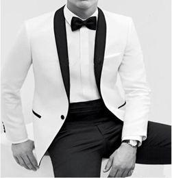 Wholesale Best Selling White Men s Wedding Suits Shawl Collar Wedding Suits for men Man s White Groom Tuxedos