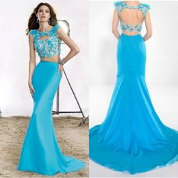 Wholesale peacock blue two pieces dresses jewel necline with keyhole illusion bodice backless court train floral long mermaid prom dressed