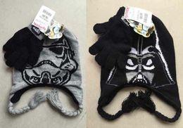 Wholesale 2 Color Baby Star Wars gloves crochet hats NEW children cartoon Wars crochet Costume Handmade Crochet Knitted Hat