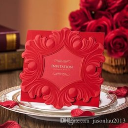 Wholesale Red European Style Wedding Invitations Flower Party Invitation Cards Convites De Casamento with Personalized Printing
