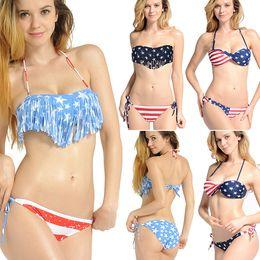 Wholesale 2015 Summer Fashion Women Push up Padded Swim Wears BOHO American Flag Fringe Bandage Bikinis Bathing Suit Styles S M L