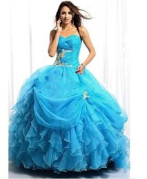 Wholesale Sexy Ball Gown Quinceanera Dresses Turquoise blue sweetheart organza applique Wedding Dresses jacket Evening Party Gown