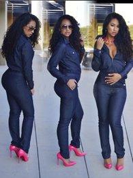 Discount Woman Long Sleeve Denim Jumpsuit | 2017 Woman Long Sleeve ...