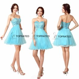 Wholesale 2015 Homecoming Short Prom Dress Gown Dresses In Stock Real Sample Corset Sweet heart Beaded Blue Sequins Mini Tulle SD034