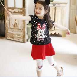 Wholesale 2016 Summer Girl Outfit Set Minnie Mouse Dots T Shirt PantSkirt Children Child Outdoor Clothes Leisure Set Black Red K6954