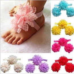 Wholesale Korean Style Childrens Best Sale Solid Chiffon Flower Princess Headband And Feetband Set Girls Fabric Hair Accessories Set