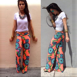 Wholesale 2015 Summer Women Pants Wide Leg Long Bohemian Leggings Palazzo Trousers Beach Pants