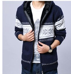Wholesale Mens Hooded Snow Floral Cardigan Sport Coat Thick Velvet Sweater Jacket