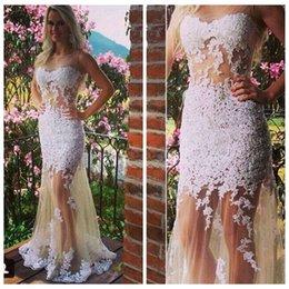 Wholesale 2015 Sexy Nude Scoop Mermaid Lace Prom Dress Teen Dress LS07178
