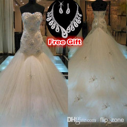 Wholesale Luxury Crystal Mermaid Wedding Dresses with Strapless Sweetheart Backless Tulle Beaded Cathedral Train Trumpet Bridal Gowns SH003 Bling