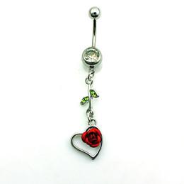 Recentemente Moda Umbigo Anéis de aço inoxidável Dangle verde cristal de rocha Coração de Rosa Umbigo Piercing Jóias
