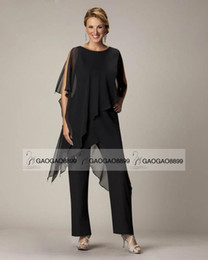 Wholesale Black Elegant Chiffon Mother s Pant Suit Custom Make Plus Size Comfortable Full length Mother Of The Bride Suit
