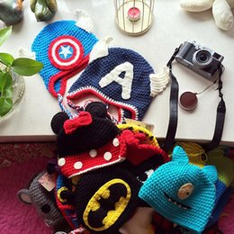 Wholesale 9 Design Despicable me Superman Batman Spider Man Captain America Mickey Minne hat NEW baby Costume Handmade Crochet Knitted Hat B