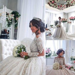 Wholesale 2016 Luxurious Full Lace A Line Wedding Dresses Long Sleeves Pearls Beaded Illusion Appliques Puffy Custom Made Off Shoulder Bridal Gowns