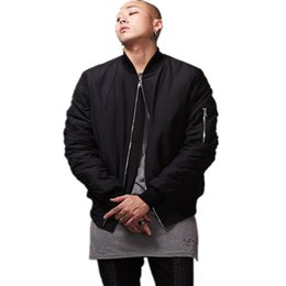 Wholesale 2015 Fashion Hi Street Mens Military Style Ma1 Bomber Jacket Black Mens Slim Fit Hip Hop Varsity Baseball Jacket Q1646