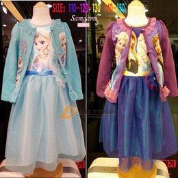 Wholesale Girls frozen Elsa Anna dress baby kids frozen lace dresses children girl tutu skirt with flower girls dress with capes J120102