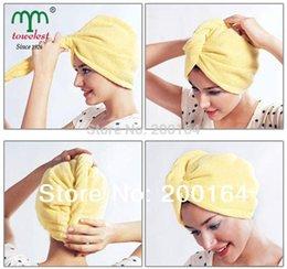 Wholesale pc set Plush cm Microfiber Magic Drying Turban Wrap Towel Hat Cap Hair Dry Quick Dry Dryer Bath Caps