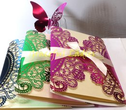 Wholesale Bright Laser Cut Wedding Invitations Hollow Out Party Invitations Blank Inner Sheet Bowknot Custom Made Wedding Supplies Factory Sale