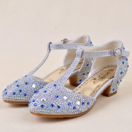 Wholesale 2015 High Quality Luxury Kids Girls Women Sandals Frozen Princess Children s Party Crystal Shoes Sweet Heels Shoes