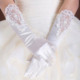 Wholesale 2015 Hot Sale Below Elbow Length White Bridal Gloves Ivory Satin with Lace Finger Wedding Gloves Wedding Accessories Renda Luvas nupcial