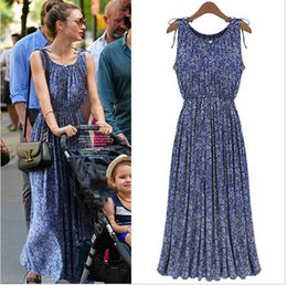 Wholesale 2015 New Fashion Women s Boho Casual Vintage Summer Floral Maxi Dress Ladies Sleeveless Long Dresses