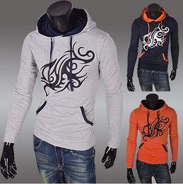 Wholesale 2014 new fashion slim men s jacket Casual men s coat mens clothing Printed Splice Pullover mens s Hoodies Sweatshirts gray colour