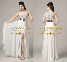 Wholesale ZAHY In Stock Prom Dresses V neck Cap Sleeve Beading Original Real Picture A Line Side Slit Evening Gowns with Gold Belt LAN041