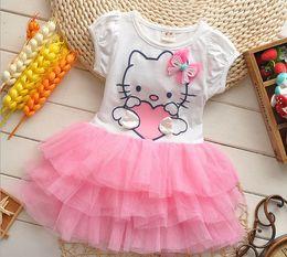 Wholesale Hello Kitty Girls Dress For Korean Summer Pure Cotton Gauze Tutu Ball Gown Baby Kids Princess Dresses Age Children Clothes T524 Retail