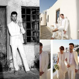 Wholesale Custom Made Groom Tuxedos One Button Tuxedo Two Pockets Formal Handsome Men s Suits White Suit For Wedding
