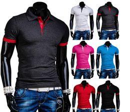 Wholesale 2015 New short slim fit men shirt solid casual men polo shirt colors M XXL A8746