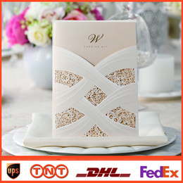 Wholesale Personalized Lace Hollow Wedding Invitation Free Printing Inner Sheet cm cm Laser Cut Wedding Cards CW060