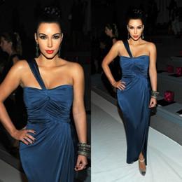 Wholesale Kim Kardashian New Dark Navy Sheath One Shoulder Ruched Slit Evening Dresses Celebrity Red Carpet Dresses Sexy Prom Gowns