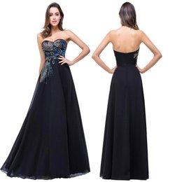 Wholesale Robe de Soiree Black Cheap Lace Long Prom Dresses A Line Peacock Sweetheart Elegant Evening Party Dresses Vestido de Festa BZP0792