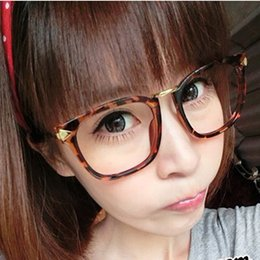 vintage plain mirror large frame myopia eyeglasses frame glasses frame women black male eye box