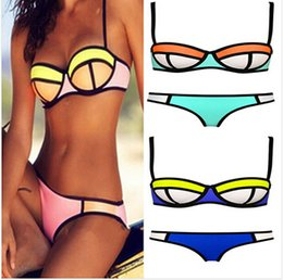Wholesale 2015 color set bottom top women Bandage bras swimsuit zipper bikini swimsuit swimwear neoprene push up padded bikini BBB2117