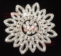 Wholesale cm round stunning clear rhinestone applique big flower shape DIY wedding dress hat sandal bag costume sewing