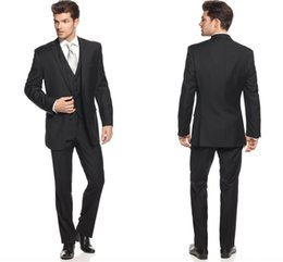 Wholesale Groom Wear Men Suits for Wedding Classic Black Solid Slim Fitting Three Pieces Tuxedos for Groom Groomsmen Jacket Pants Waistcoat