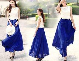 Wholesale 2015 Hot Sales Arrivals Fashion Women Chiffon Pleated Elastic Waist Double Layer Long Maxi Full Length Skirt qx94