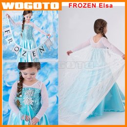 Wholesale Fashion Baby girls Frozen Elsa Princess Party Dress Fantastic Sequins Decorative Pattern and snowflake in the chest long veil cape