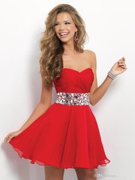 Wholesale New Arrival Sparkle Crystal Homecoming Dresses Red Pink Sweetheart Backless Short Prom Gown Fashion Chiffon Draped Party Cocktail Dress