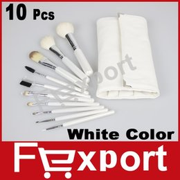 Wholesale 10 Cosmetic Makeup White Brush Professional Kit with White Beauty Make Up Bag