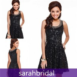 Wholesale 2015 SHAIL K Sparkling Sequined Short Prom Dresses Little Black A Line Skirt Cheap For th Grade Dance Homecoming Gowns with Pockets Sale